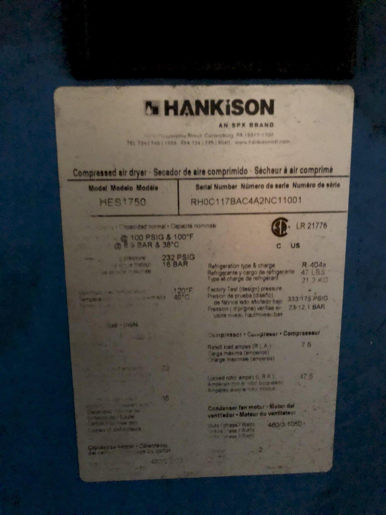 HANKISON MODEL HES1750 1750 CFM AIR DRYER S/N RHOC117BAC4A2NC11001