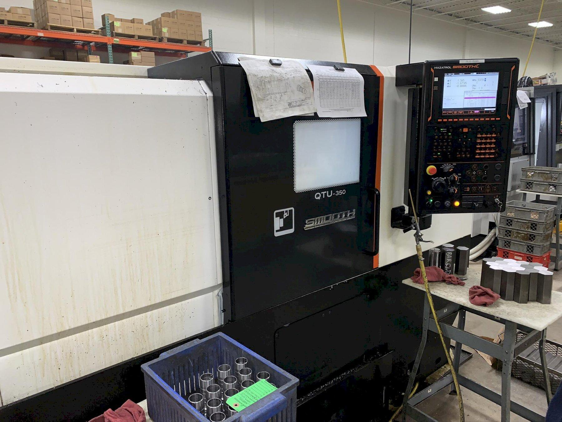 "Mazak QTU350 CNC Lathe, SMOOTH C,12"" Chuck, 27.4"" Swing, 3"" Bar Cap, 12 Position Turret, Tailstock, Tool Eye, Chip Conv, 20 HP, Low Hrs, 2018 (2 Avail)"