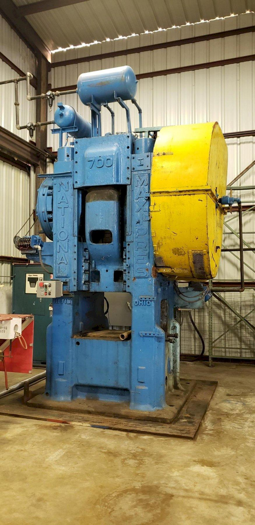 "700 TON NATIONAL FORGING PRESS (8"" STROKE) & 150 KW AJAX TOCCO INDUCTRON II HEATER: STOCK 14120"