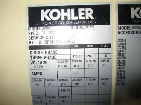475 KW KOHLER MDL. 500R0ZD DIESEL GENERATOR   Our stock number: 113226