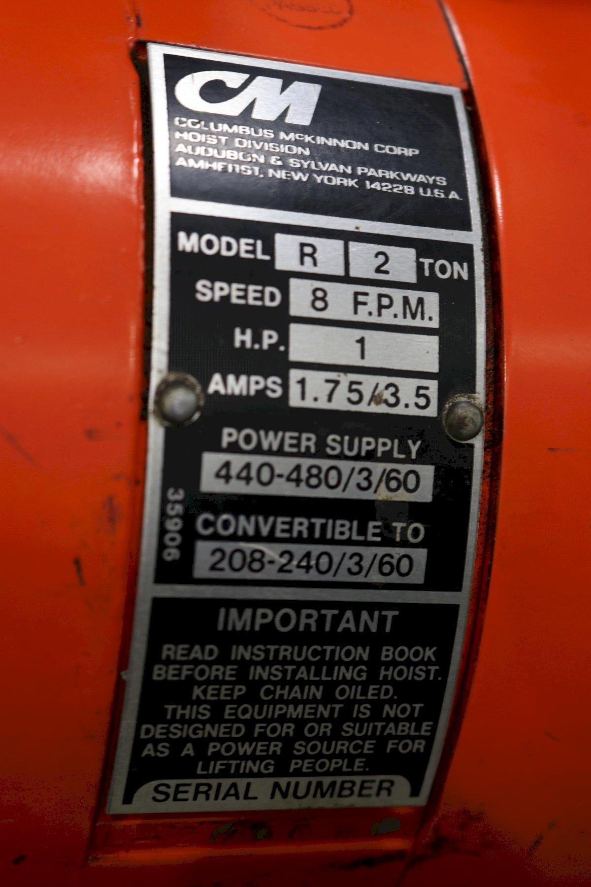 2 TON C & M ELECTRIC CHAIN HOIST: STOCK #73526