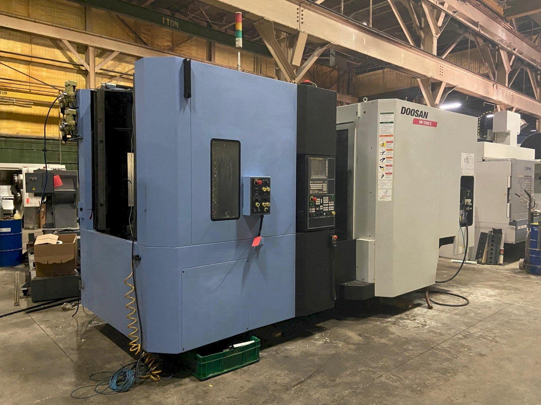 "Doosan HP5100II CNC Horizontal Machining Center, Fanuc 31iA, 19.7"" Pallets, 14K Spindle, CTS, 30 HP, Hyd Clamping, 60 ATC, Chiller, Full 4th, 2014"