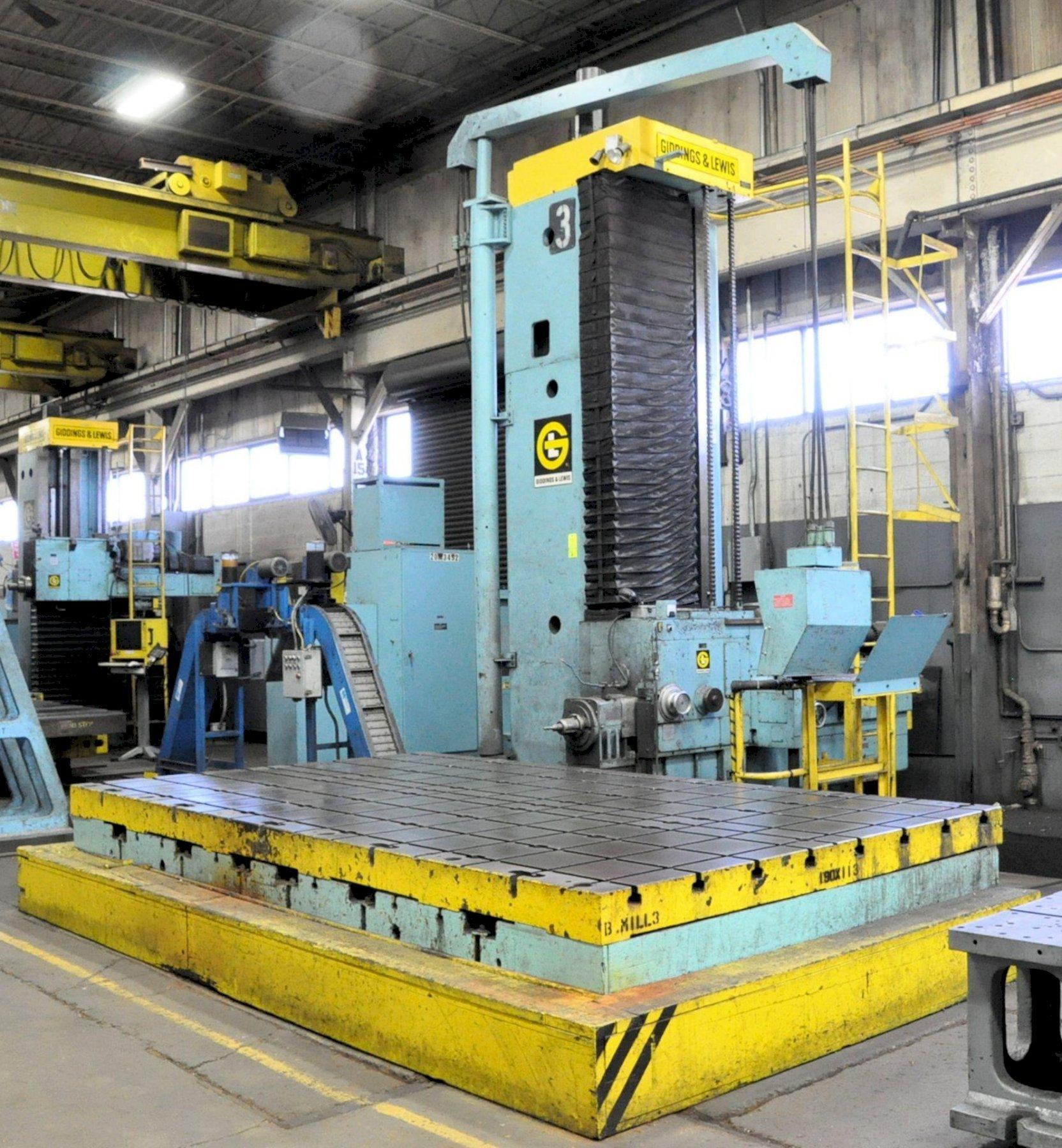 "6"" Giddings & Lewis Model 70-H6-UF, Floor Type CNC Horizontal Boring Mill, S/n 425-33-68, 180"" x 96"" T-Slotted Table Size, 192"" X-Axis, 113"" Y-Axis, 48"" Z-Axis, Chip Conveyor"