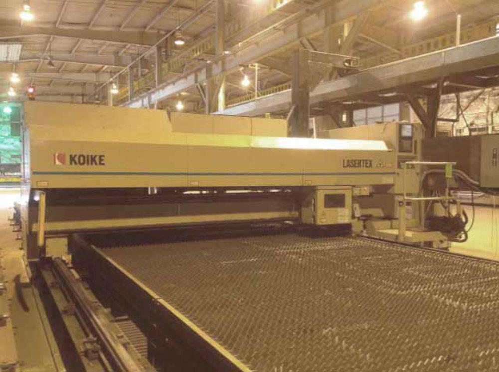 USED KOIKE 4000 WATT CNC GANTRY TYPE LASER, LASERTEX SERIES, FANUC C4000 RESONATOR, 120
