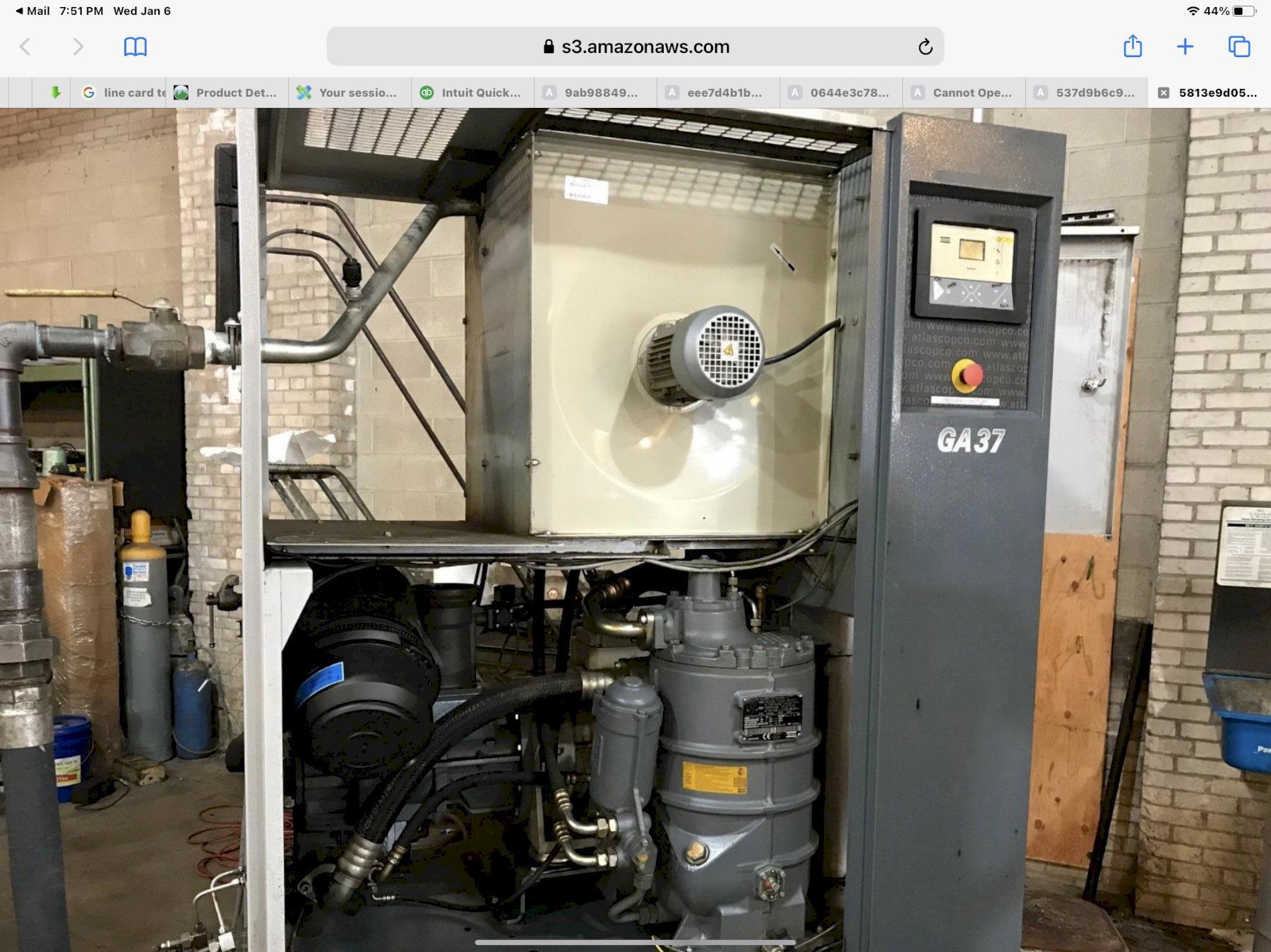 ATLAS COPCO GA37  Air Compressors, Rotary Screw/Sliding Vane