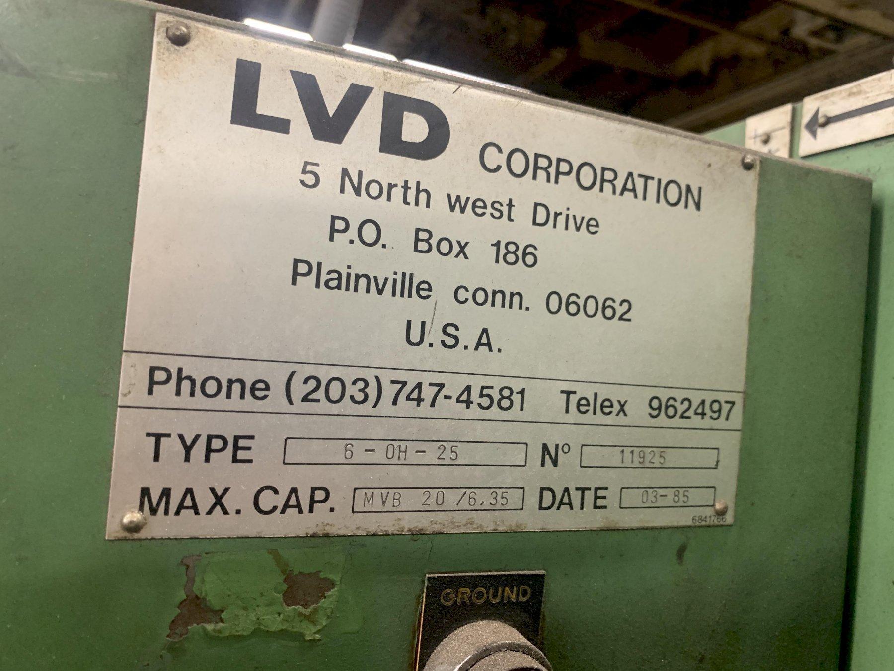 """1/4"""" X 8' LVD TYPE6-OH-25 MVB 20/6.35 HYDRAULIC SHEAR"""