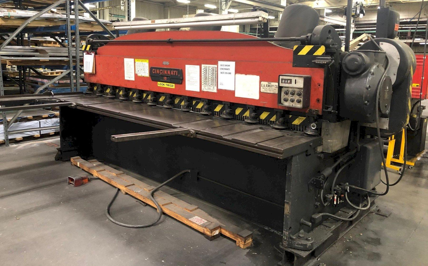 "12' x 1/4"" Cincinnati Mechanical Power Shear, No. 1812, 36"" FOPBG, Squaring Arm, Front Supports"