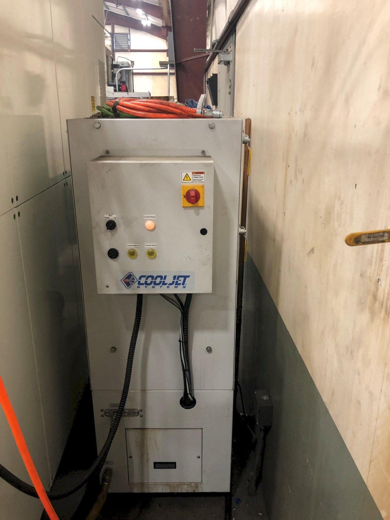 Kitamura Bridgecenter 6G Double Column Machining Center with: Heavy Duty Box Way, 50-Taper, 12k RPM Spindle Gear Drive, 40-ATC, Jet Systems 1000 PSI Coolant Pump, Remote Jog Handle, Chip Conveyor, and Coolant Tank.