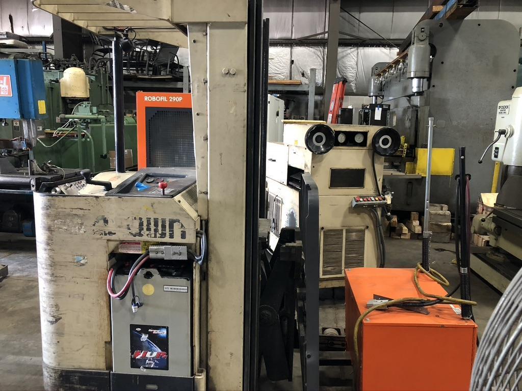 "4500 lb CROWN NARROW AISLE STAND UP RIDER ELECTRIC FORK LIFT, MODEL 45RRTT,  24"" REACH, 198"" LIFT"