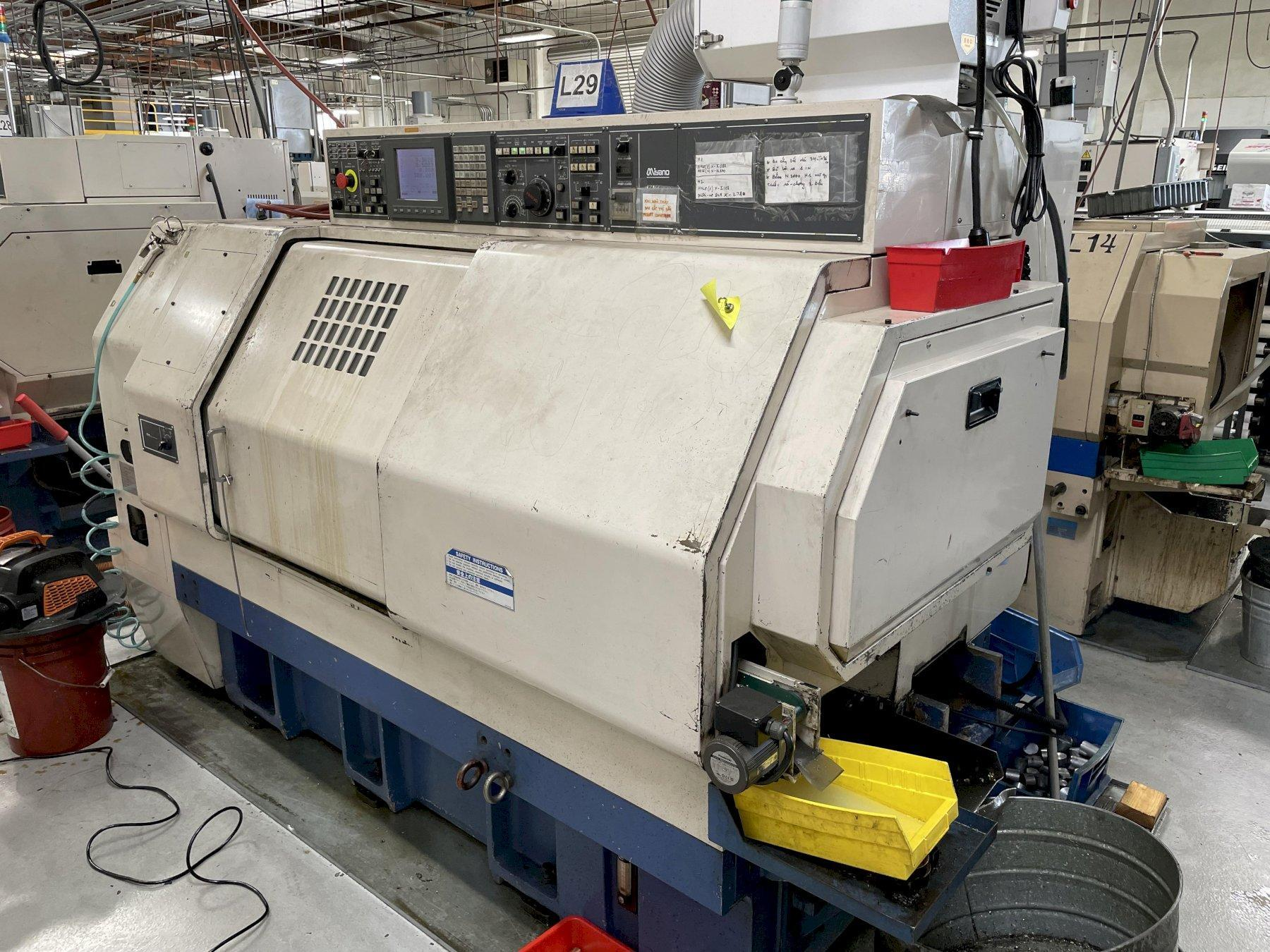 Miyano BNJ-42S Multi-Axis CNC Lathe 2005 with: Fanuc 18i-TB CNC Control, Live Milling, and Parts Catcher.