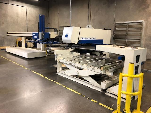 "1999 Trumpf TC500R CNC Punch, 50"" x 100"" Travels, 19 Rail Mounted Stations, Auto Load/Unload System"