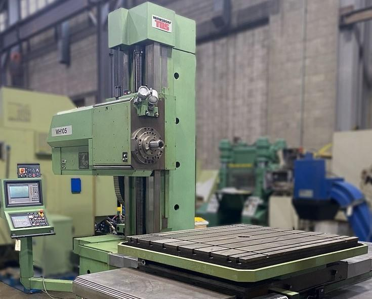 """4"""" TOS VARNSDORF PROGRAMMABLE TABLE TYPE HORIZONTAL BORING MILL, Model WHN-105NC, Heidenhain CNC Control, 49"""" x 57"""" Power Rotary Table, X=70.8"""", Y=49.1"""", W=49.2"""", Z(Quill)=25.5"""", 35 HP, 3000 RPM, New 1999."""