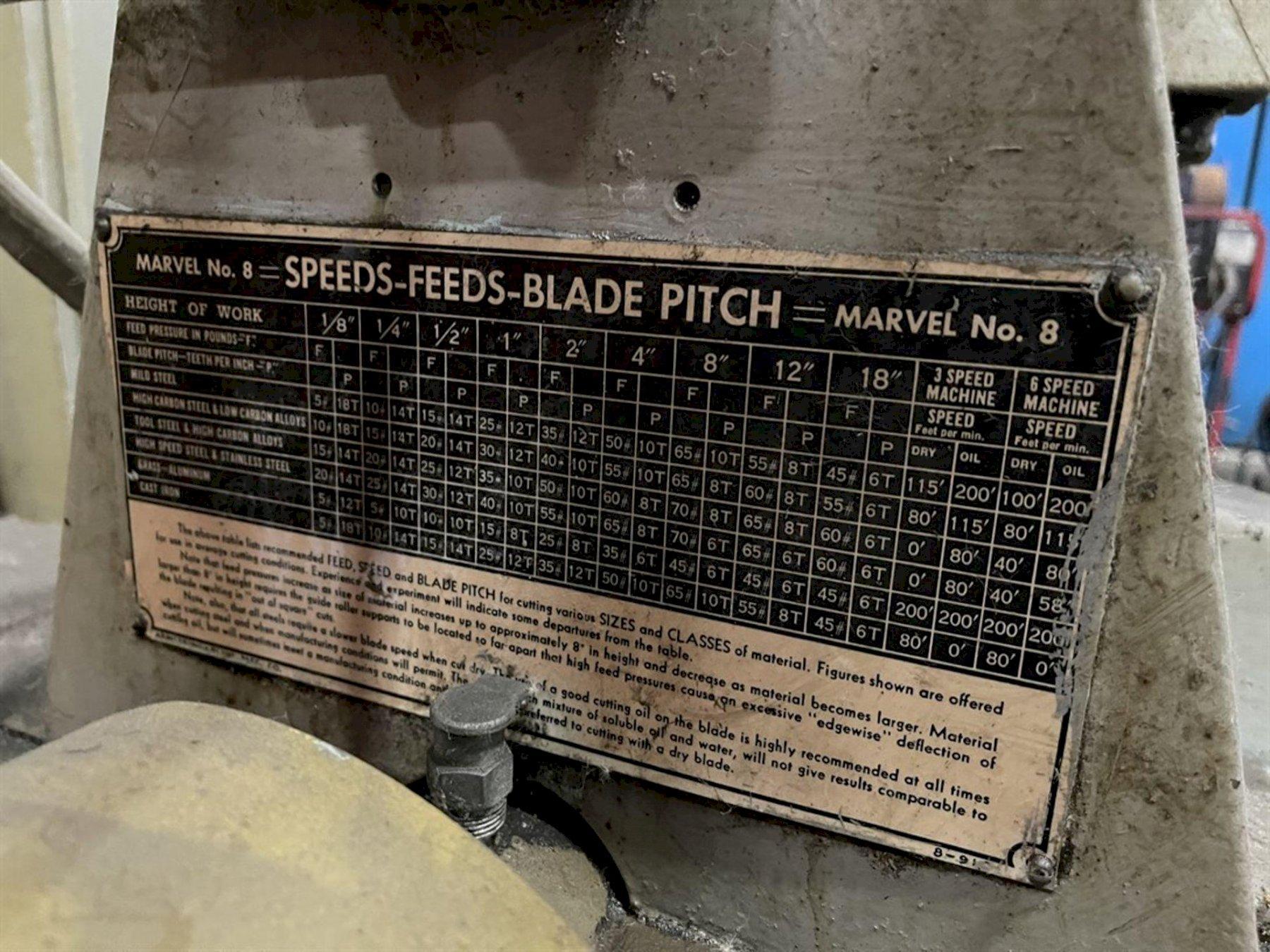 "ARMSTRONG-BLUM MARVEL SERIES 8 VERTICAL BAND SAW, 18"" Throat Depth, 33"" x 26"" Table, 34.5"" Work Height Capacity, 34 Deg. Column Tilt Left & Right."