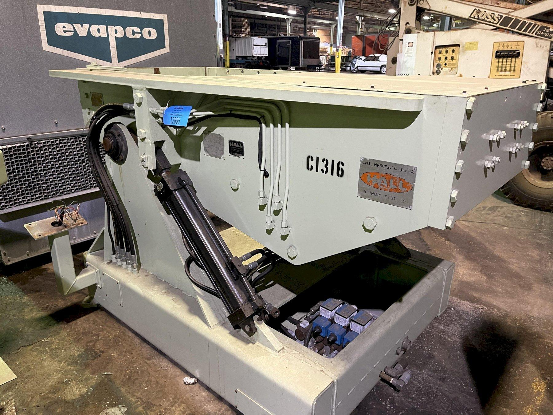 """new Hall 90 degree tilt pour permanent molding machine s/n pbr4503, 18"""" x 24"""" platen size, set up for quick change with 30"""" x 12"""" opening"""