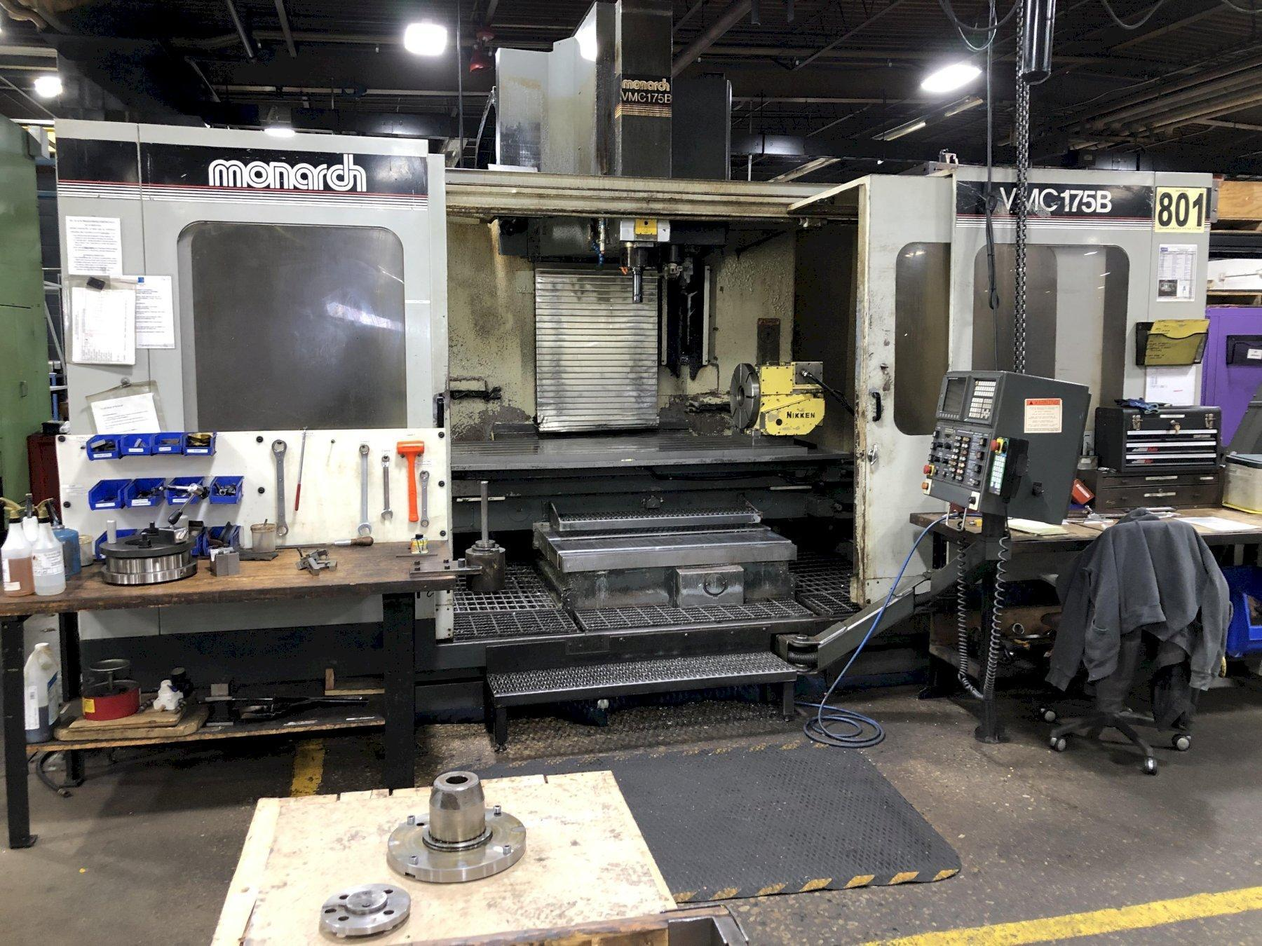 "MONARCH VMC175 WITH EXTENDED Z, 47"" Z CLEARANCE, 36 X 76 X 44 TRAVELS, FANUC 15M, TSC, OUTRIGGERS, 1994, NEW BALLSCREW  2018, NEWER SCALES"
