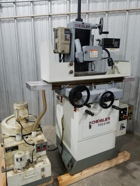 "6"" x 18"" Chevalier Surface Grinder No. FSG-618M, Hand Feed, Elect. Chuck, Vari-Speed Spindle, DRO, Coolant/Dust Collector, Out Of Government Facility"