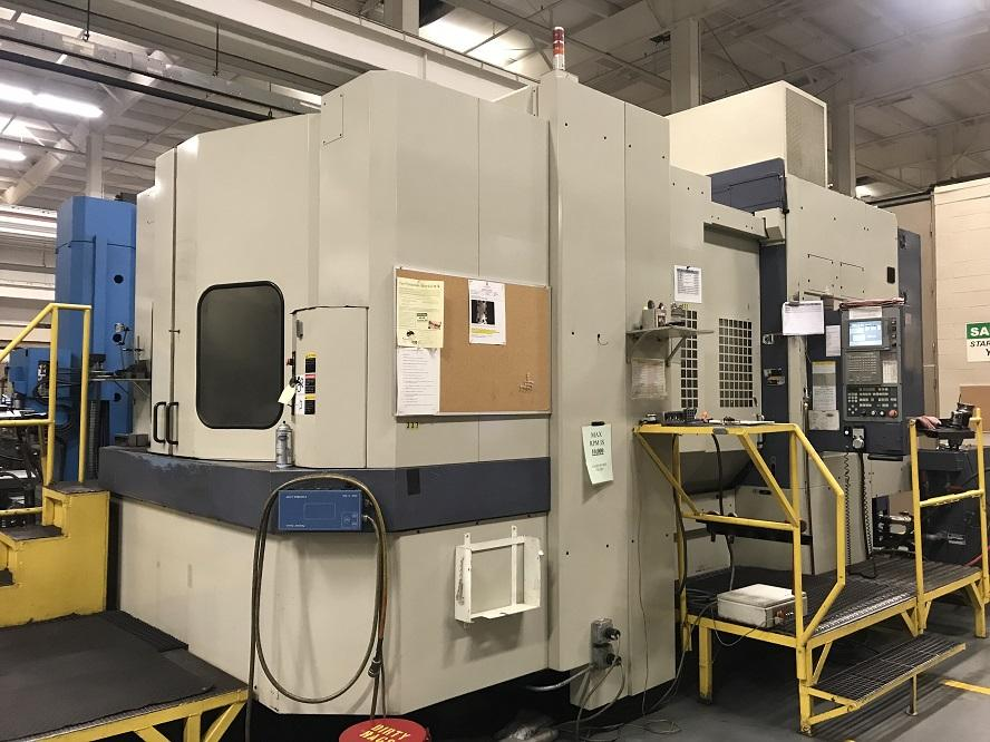 "OKK HM100S, Meldas 645 Control, 39.4"" Pallets, 55""/43""/39"" Travels, 12K Spindle, 50 Taper, Coolant Thru Spindle, Probe, 40 Horsepower, 1° Indexing, 2002"