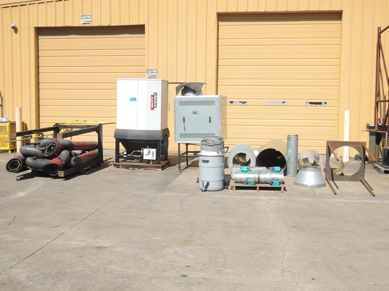 2012 LINCOLN MODEL STATIFLEX  6000MS FUME COLLECTION SYSTEM WITH 4- LOW VACUUM FUME ARMS 13' LONG, SF9000 7.5 HP CENTROL FAN, POWERFLEX 400 FREQUENCY CONTROLLER, STATIFLEX 6000MS FILTRATION UNIT WITH
