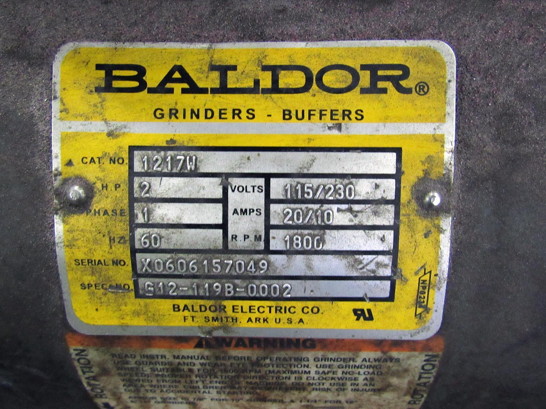 USED, BALDOR MODEL 1217W DOUBLE END PEDESTAL GRINDER