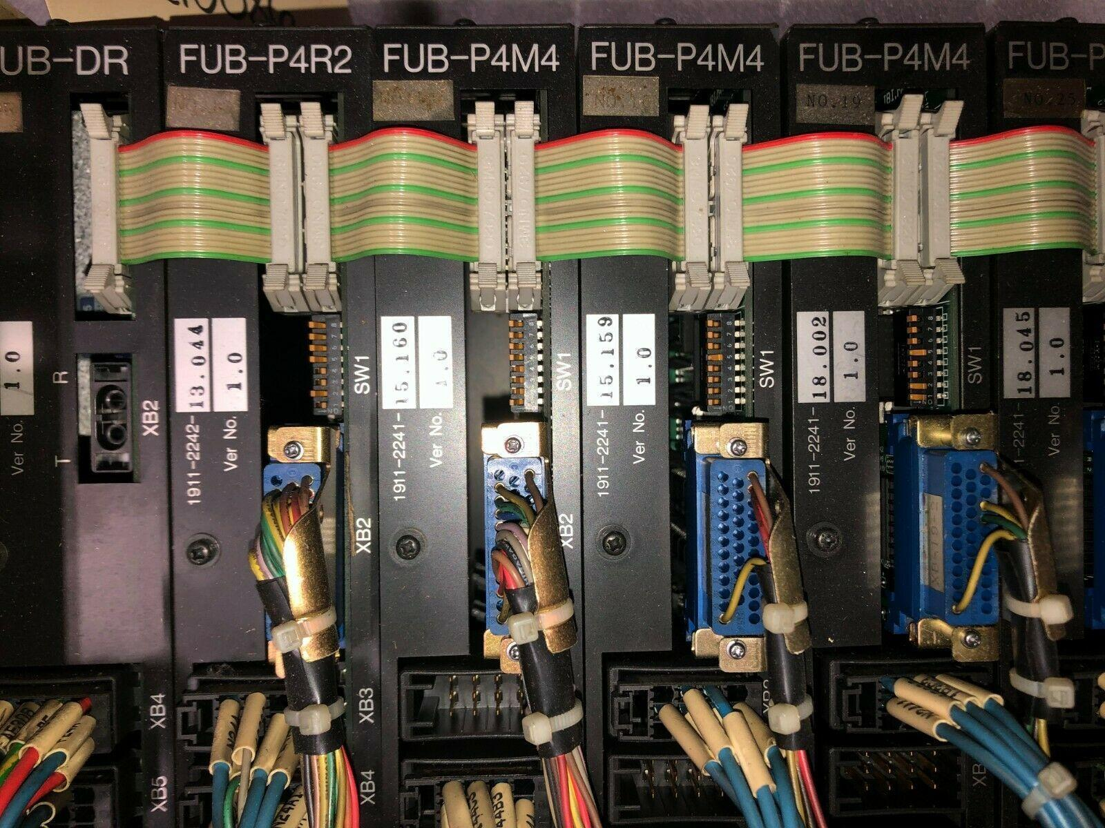 Okuma I/O Unit: (1) FUB-DR, (1) FUB-P4R4, (4) FUB-P4M4. Worked when pulled from machine.