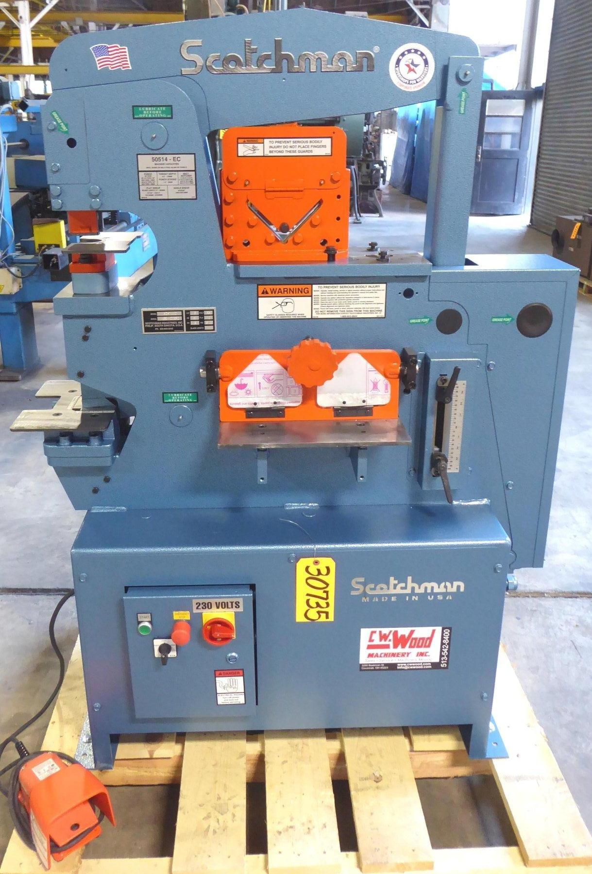 4″ x 4″ x 3/8″ SCOTCHMAN Hydraulic Ironworker, No. 50514-EC, 50 Ton, Punch, Bar Shear, Notcher, New, In Stock
