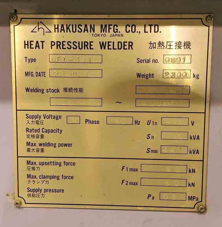 Welder, Heat Pressure, Hakusan STOCK # 2775