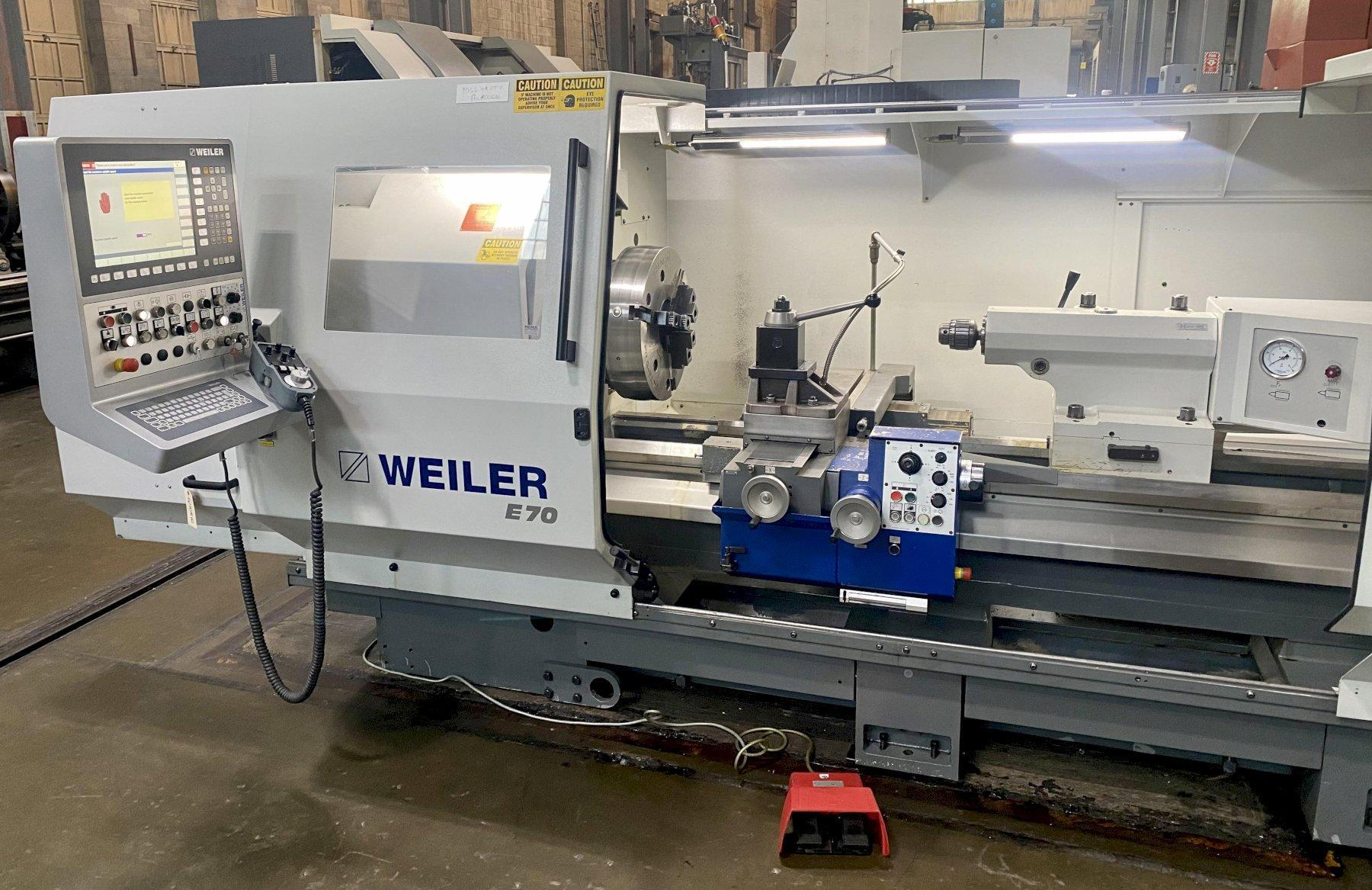 """WEILER E70 x 2000 CNC FLAT BED LATHE, Siemens 840D CNC Control  20"""" 3-Jaw Chuck, 6"""" Spindle Bore, 28"""" Max Swing, 80"""" Between Centers, Hydraulic Quill, Aloris Tool Post, 48 HP  Motor, New 2015."""