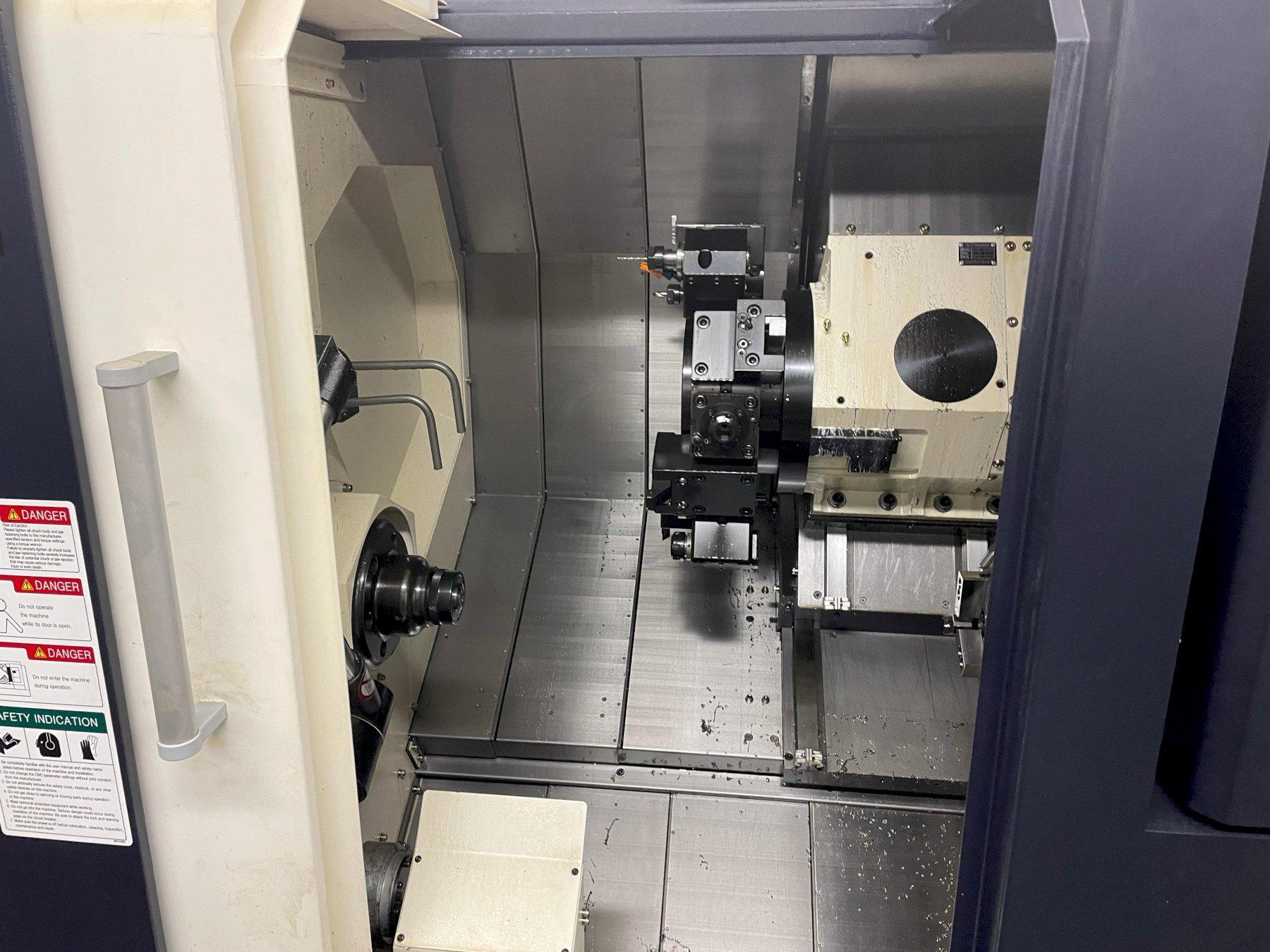"Hwacheon Cutex-180BL YSMC Multi-Axis CNC Lathe 2018 with: Fanuc OiTF CNC Control, Horizontal Linear Guide, Slant Longbed, 8"" Chuck, Milling, Tool Presetter, High Pressure Pump, HTLD, Barfeed Interface, Rigid Tapping, Parts Catcher, and Chip Conveyor."