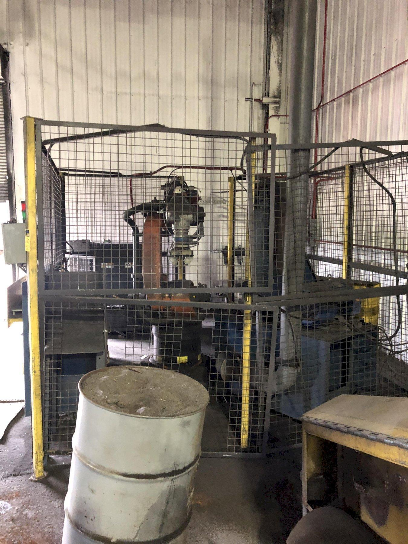 """2014 KUKA MODEL KR-C4-NA ROBOT S/N 249963 WITH CONTROLS AND TEACH NEVER PUT INTO SERVICE, TWIN FEED TABLE, 14"""" VERTICAL BELT SANDER 25 HP, ENCLOSURE"""