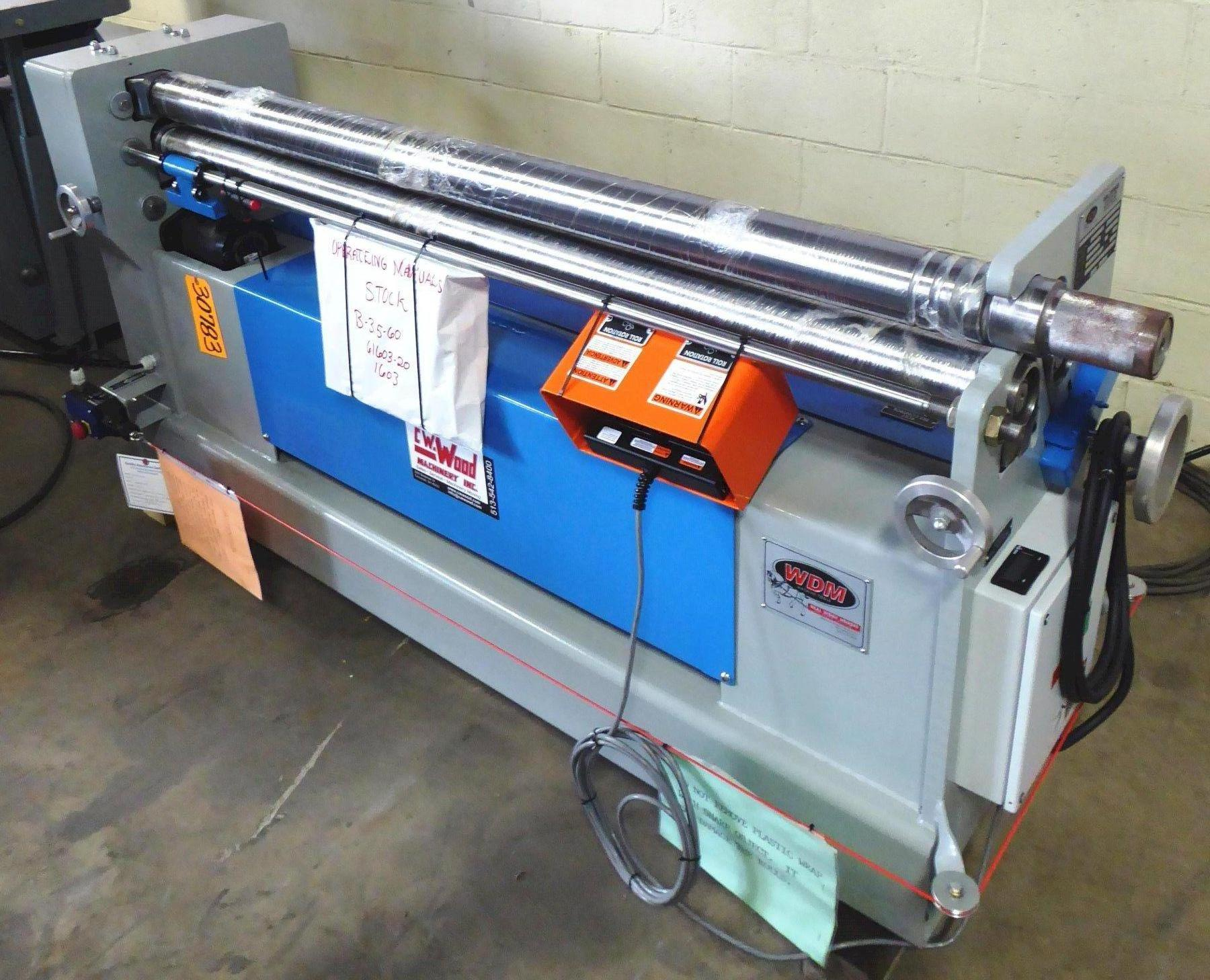 "5' x 16 Ga. WDM Initial Pinch Bending Roll No. B-3.5-60, Hyd., 3.5"" Rolls,  2 HP,  DRO, New, In Stock"