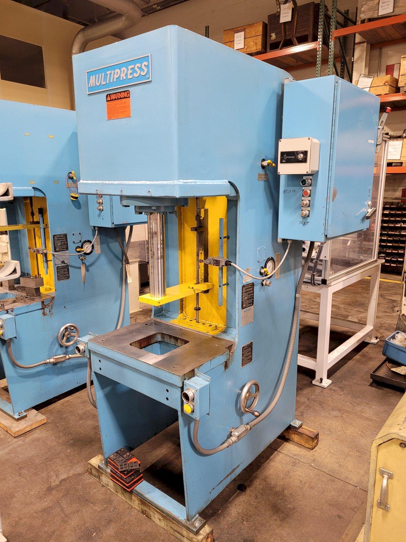 "20 Ton MultiPress Model FH-20-20H Floor Type C-Frame Hydraulic Press 21"" DL. 12"" Stroke. Inching. Dual Palms 1989"
