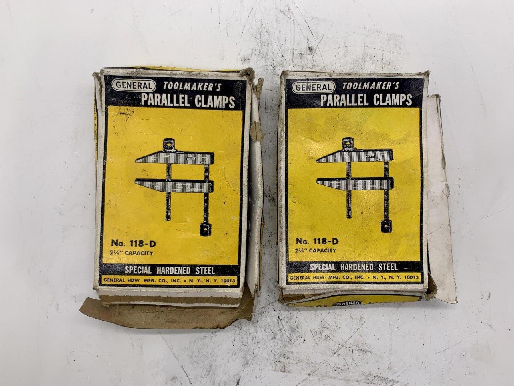 """2-3/4"""" GENERAL TOOLMAKERS PARALLEL CLAMPS NO 118-D [MATCHING PAIR] STOCK #15490"""