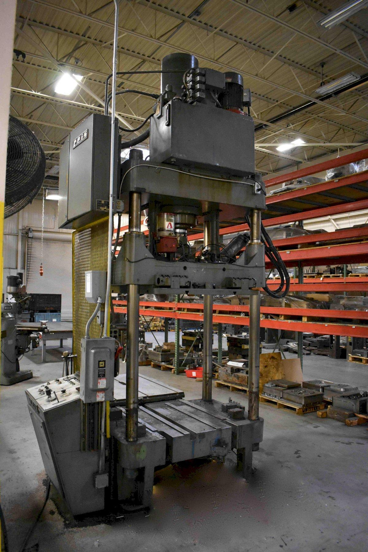 "100 TON REIS SPOTTING PRESS, MODEL TUS 115 OK, 40.75"" STR, 44.75"" DLO, 35"" LR X 50.40"" FB BA, SHUTTLE TABLE, TILT DOWN RAM"