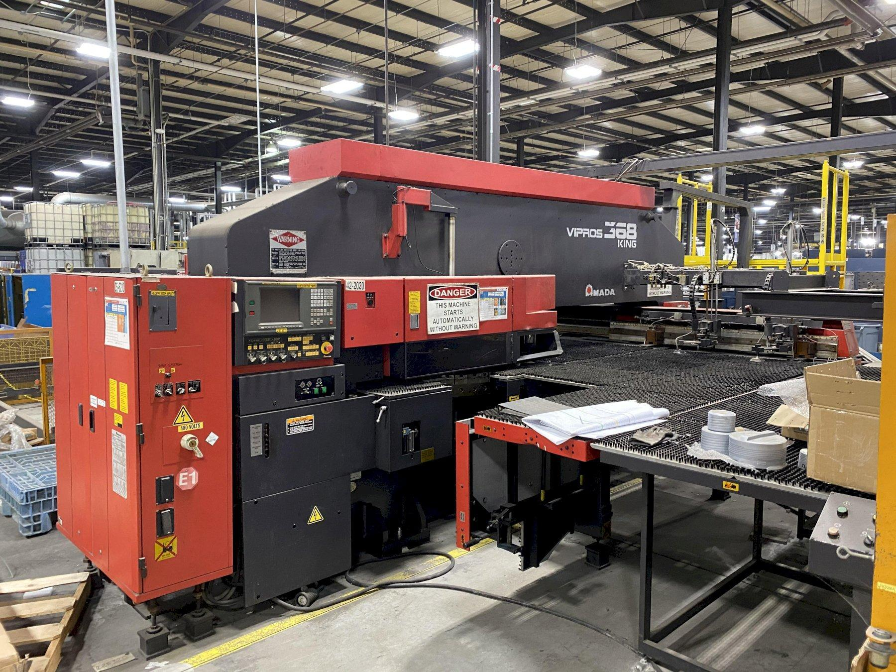 33 TON AMADA VIPROS 368 KING CNC TURRET PUNCH WITH LOADING TOWER AND UNLOADER SYSTEM. STOCK # 0848820