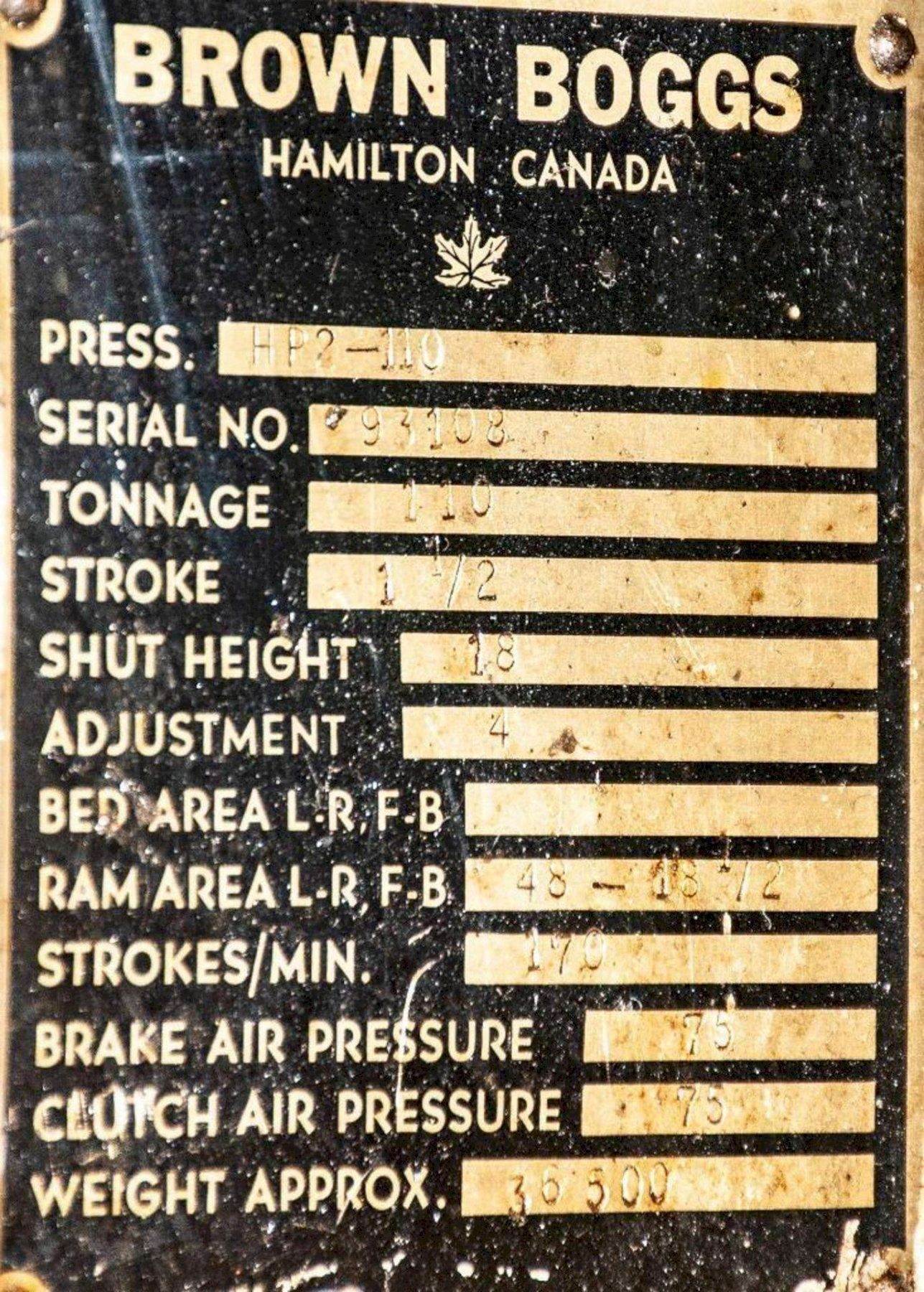 110 TON BROWN & BOGGS MODEL HP2-110 SRAIGHT SIDE PRESS: STOCK #0951421