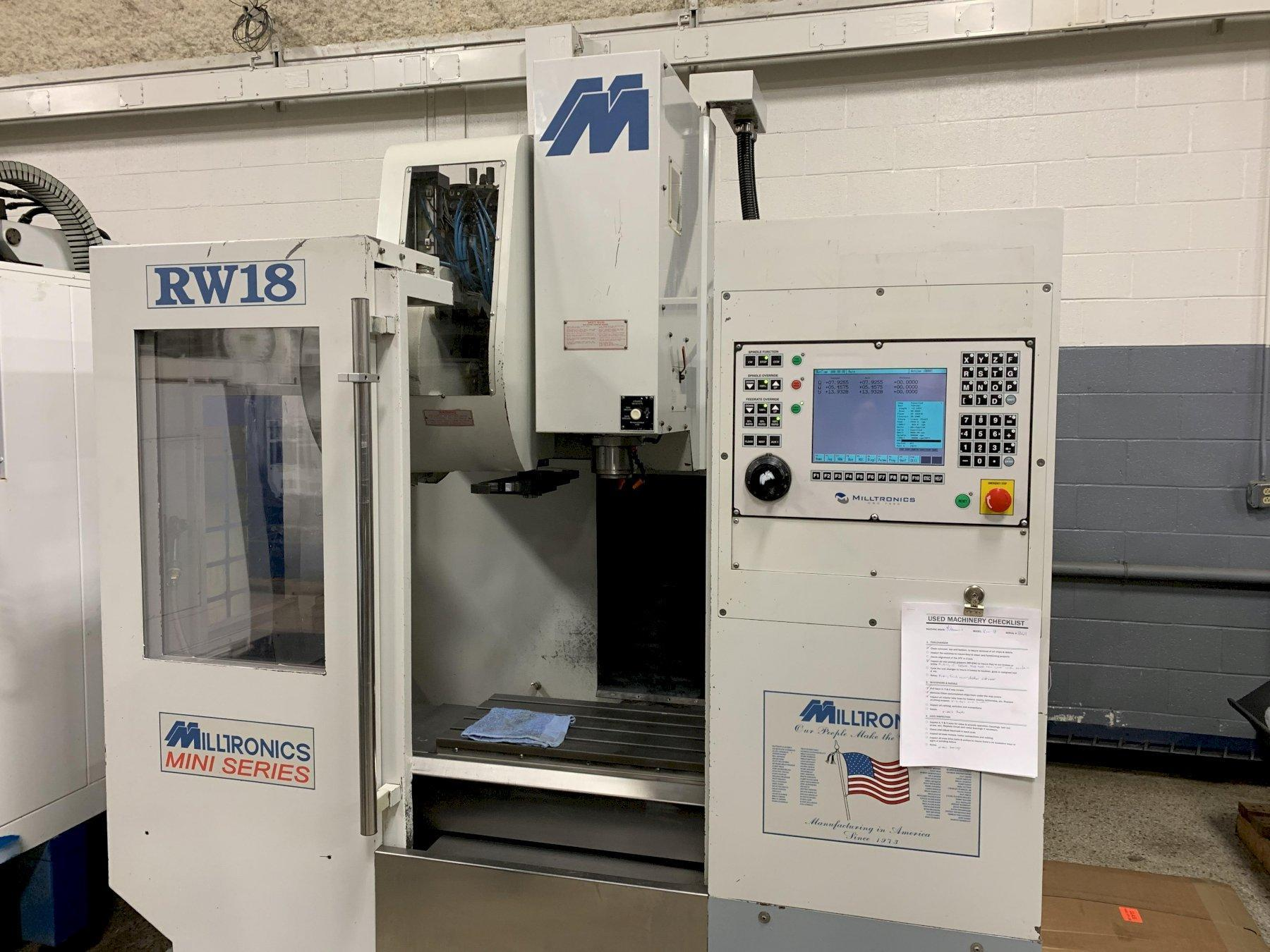 Milltronics RW18 Vertical Machining Center, S/N 8069