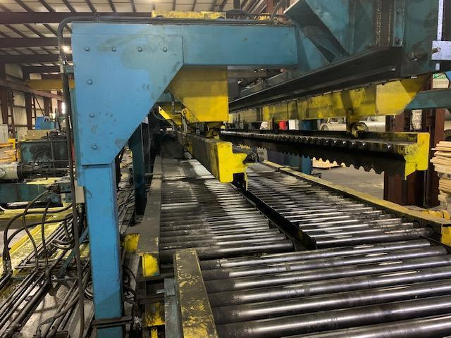 """76"""" x 1/2"""" x 30' x 25 Ton Progressive Stacker with Lift Table and 60' Powered Exit Conveyor"""