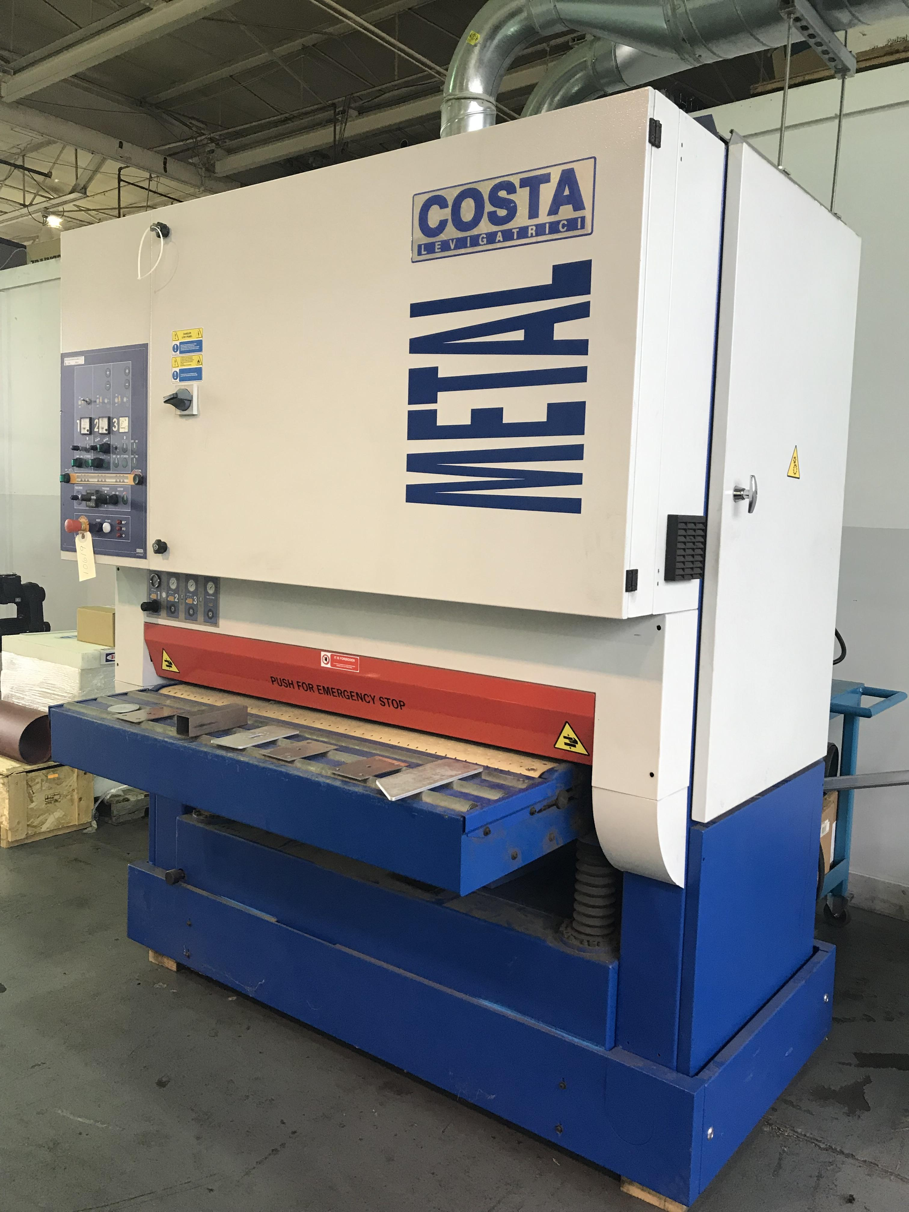 USED COSTA MODEL MD5-CV-1350 WIDE BELT DEBURRING AND FINISHING MACHINE, YEAR 2014, STOCK NO. 10619
