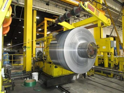 """60"""" x .187"""" x 50,000# Stamco Aluminum & Stainless Slitting Line with 2 Heads & Herr Voss Strand Extensioner"""