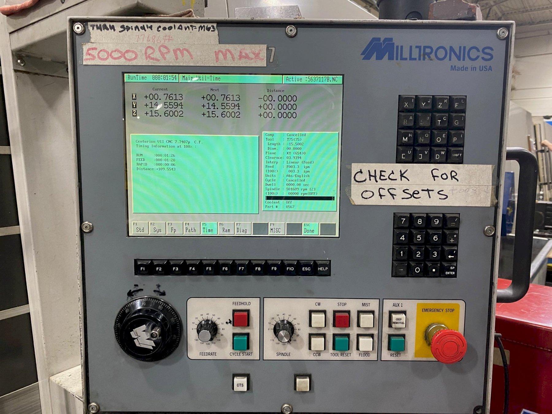 MILLTRONICS VM30XP CNC Vertical Machining Center, S/N 9859 - details pending