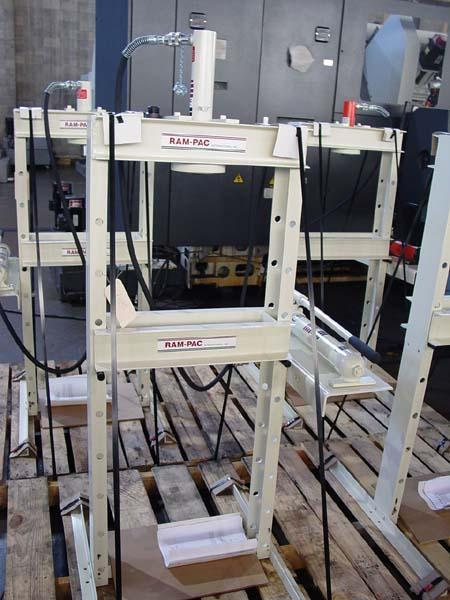 """10 TON RAM-PAC H-FRAME HYDRAULIC PRESS, Model HPH-102, 10 Tons, 7-1/4"""" x 22"""" Bed Area, 18-1/2"""" Between Uprights, Hand Pump Hydraulic Unit, New!"""