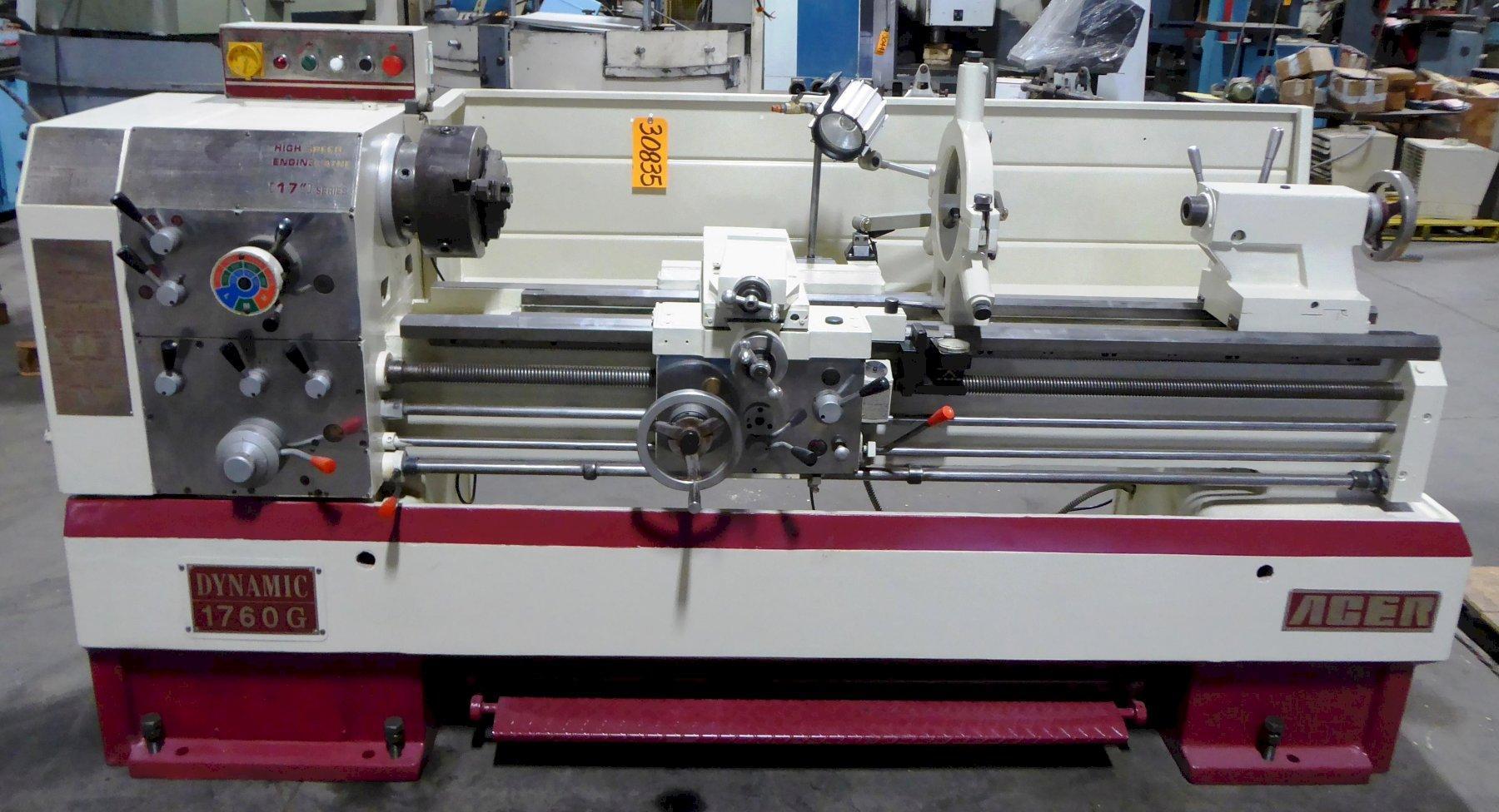 "17""/26"" x 60"" ACER Gap Bed Lathe No. 1760G, Gap, 50-1800 RPM, Inch/mm, S.R.,  Clean"