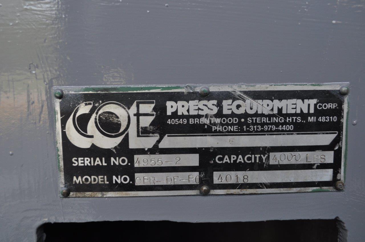 """4000 LB x 18"""" Coe Double End Uncoiler"""