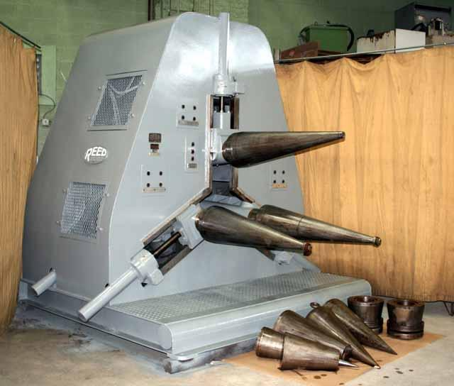Reed Model 3-Roll Cone Rolling Machine, 36 max. cone length, 3/16 max. thickness, (3) sets of rolls, 1951