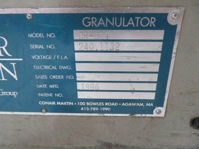 "Conair Used CR-611 Granulator, 3hp, 15""x17""; 7""x11""; 460V; Yr. 1996"