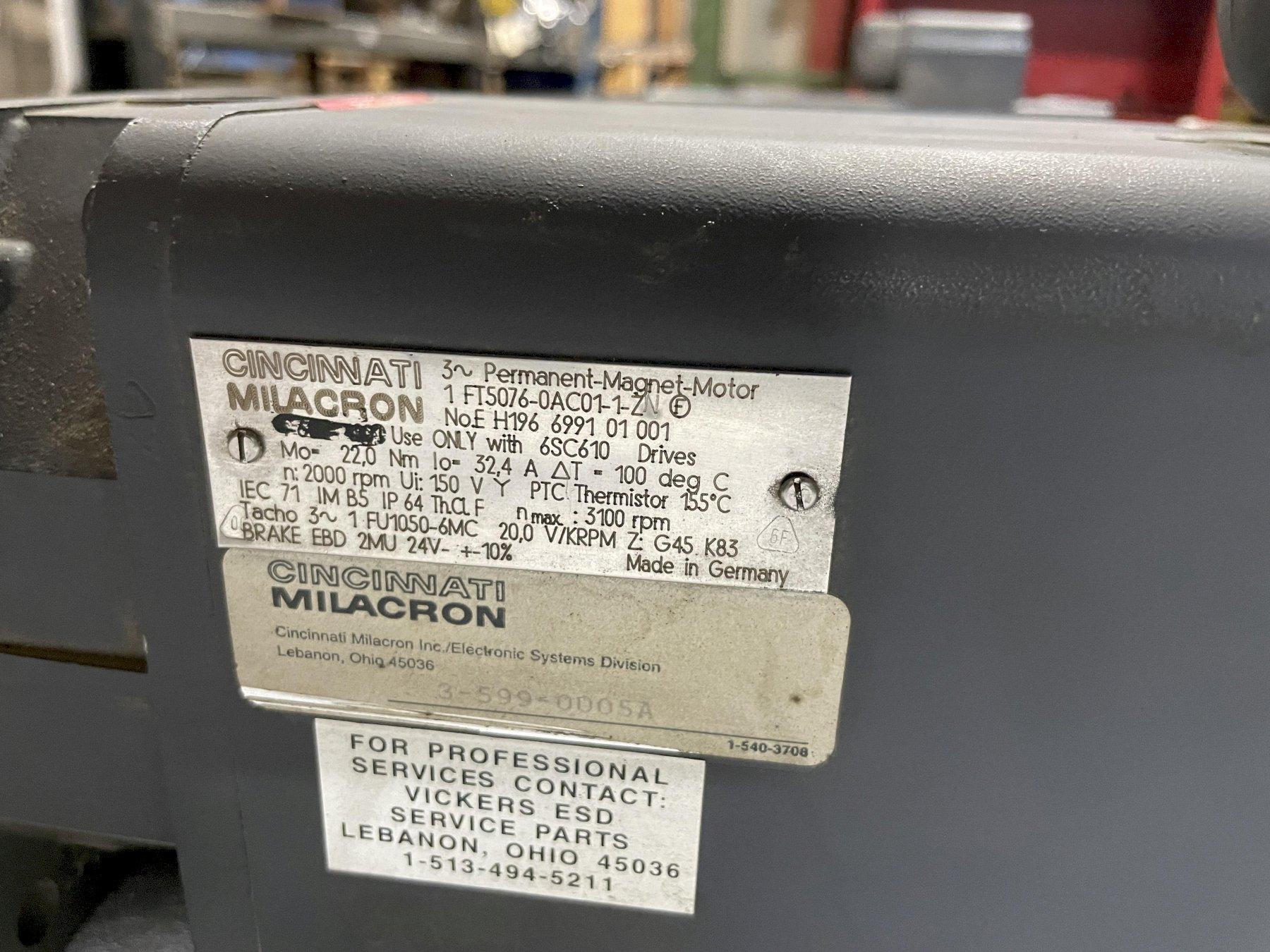 SIEMENS/CINCINNATI MILACRON SERVO MOTOR 1FT5072-0AC01-1-Z Milacron # E H196 6991 01 001. Use only with 6SC610 Drives.