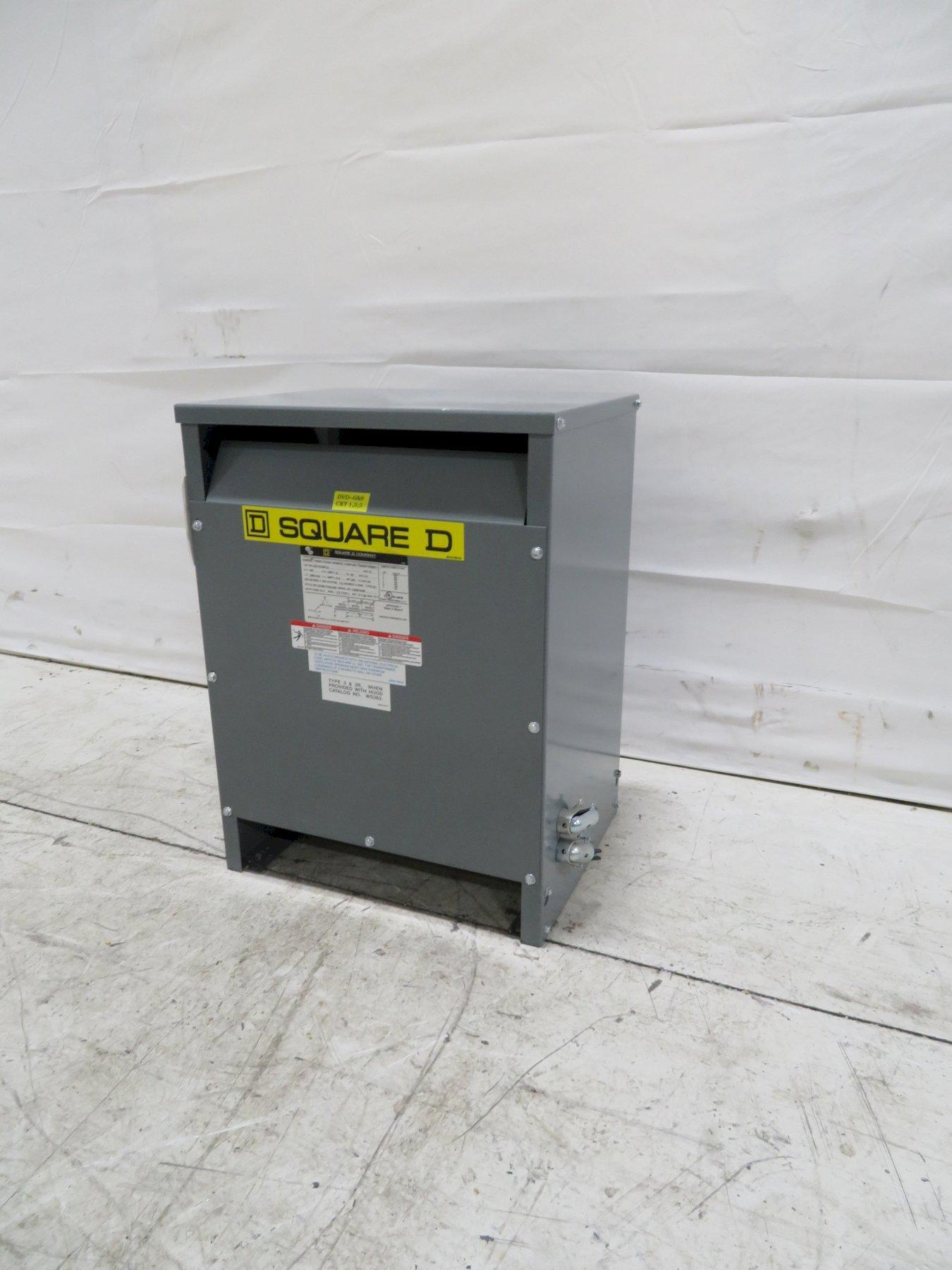 Square D Used EE15T3JFCU 3-Phase Transformer, 15KVA, 480V, 208,V 120V