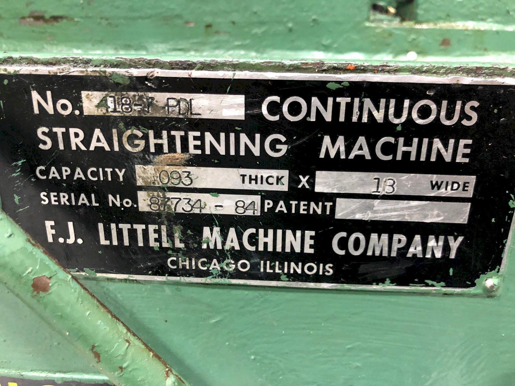 """18"""" Littell Powered Straightener Model# 418-7PDL"""
