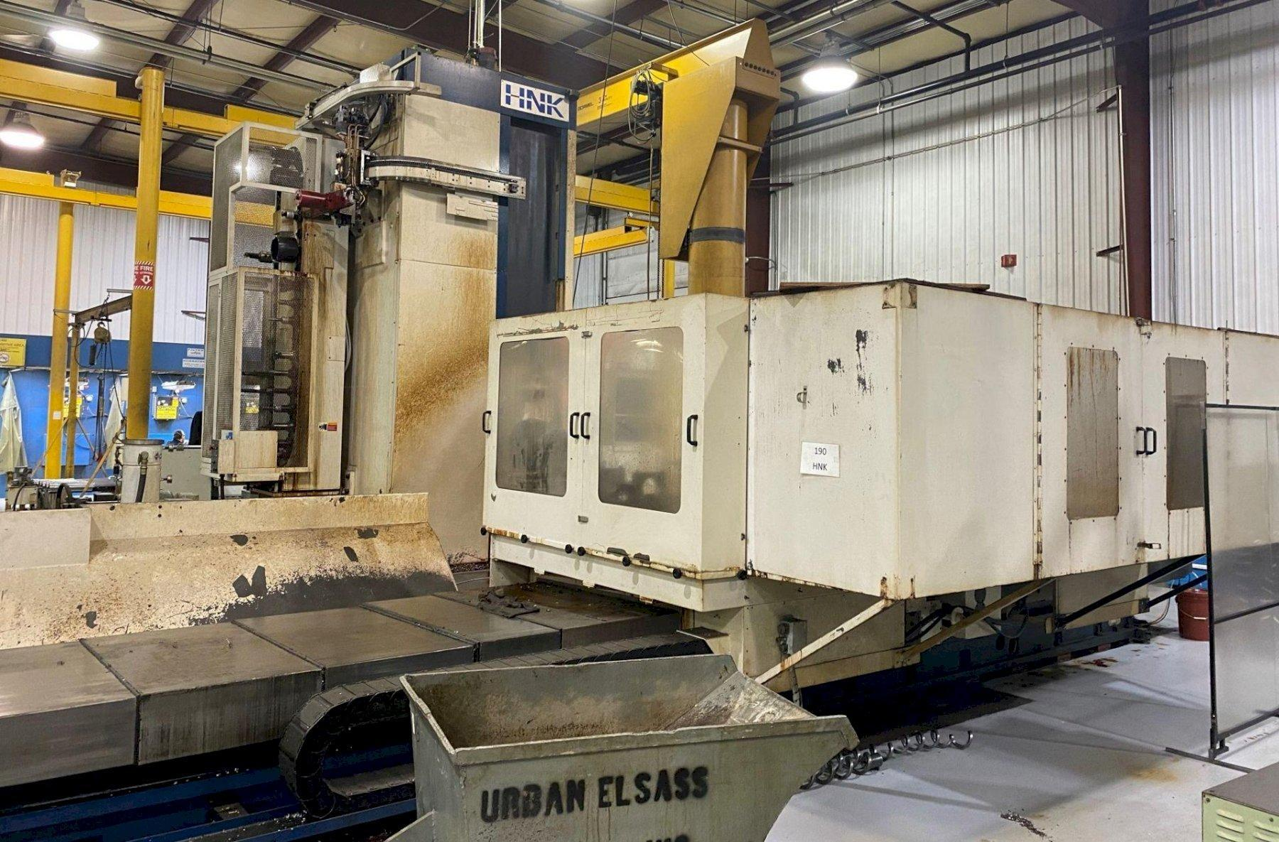 "HNK HB-130CX HORIZONTAL BORING MILL, Fanuc 16M CNC Control, 63"" x 157"" Table with a 63""x 63"" Rotary Table, X-Axis Travel 157"", Y-Axis Travel 91"", Z-Axis Travel 51"", W-Axis Travel 27"", 2500 Spindle RPM, New 2000."