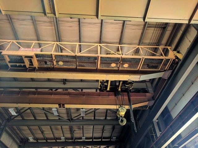 30 TON X 52' HEPBURN OVERHEAD BRIDGE CRANE WITH 5 TON AUXILIARY. STOCK # 2100220
